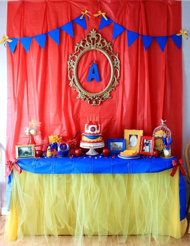 Gorgeous dessert table at a Snow White birthday party! See more party planning…