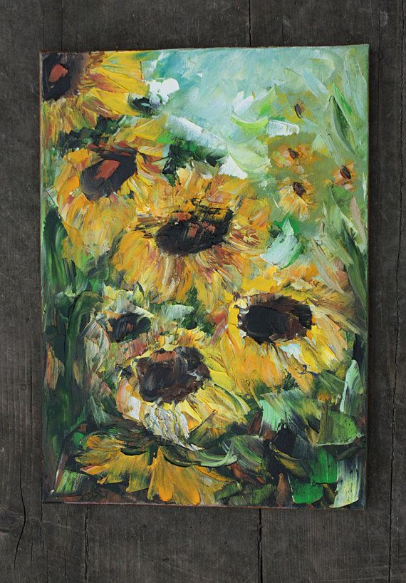 Original Oil Art Sunny Sunflowers Oil Painting by BarbaraGallery