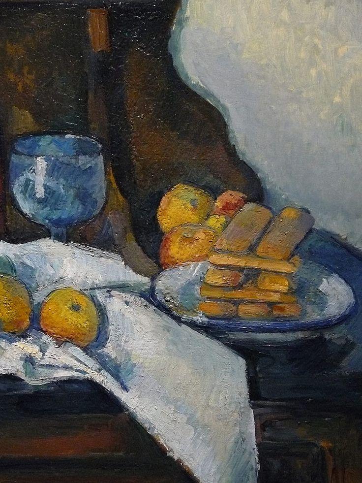 """CEZANNE,1877-79 - Le Buffet - Still Life, The Buffet (Budapest) - Detail -c  -  TAGS : details détail détails detalles painting paintings peinturepaintings """"Paul Cézanne"""" """"Paul Cezanne"""" Cezanne Cézanne """"Still life"""" """"Nature morte"""" Budapest Hongrie Hungary """"Nature morte"""" citrons citron lemon lemons orange oranges nappe """"nappe blanche"""" """"white cloth"""" chiffon cloth bleu blue tasse cup sucrier """"sugar bowl"""" buffet knife fruit food pomme apple apples glass verre dessert biscuits"""