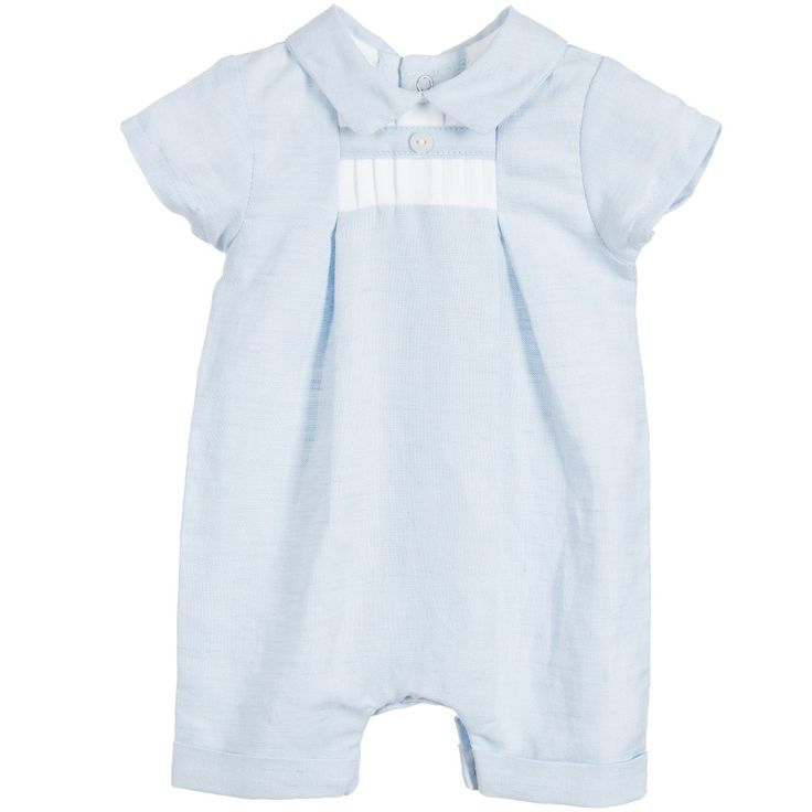 Baby boys blue, short-sleeved shortie by Absorba, made in a soft linen-mix. It has a pointed collar, turn-up cuffs on the leg openings and a white pleated detail on the chest. It fastens with poppers at the back and between the legs for easy dressing.