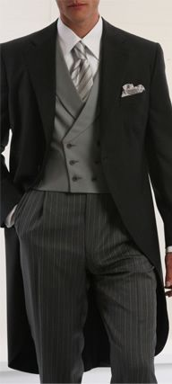 The Morning Suit is the most formal attire for morning weddings. Coats are black or grey with single button at the waist and one broad tail at back. This style is typically accompanied by a wing-collared dress shirt, ascot, and striped trousers, but can be made less formal by pairing with a tie.
