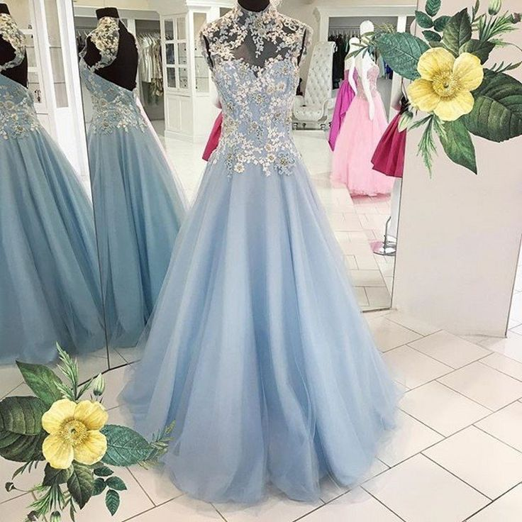 Gorgeous Blue Open Back High Neck Charming Long Evening Prom Dresses, PM0275