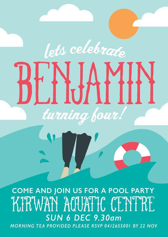 Printable Beach or Pool Party Theme Birthday Invitations.