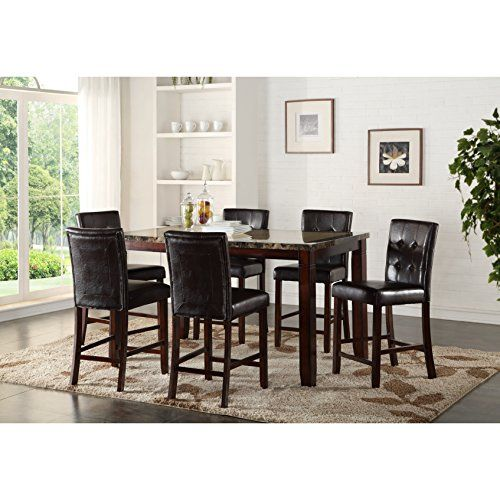 Elijah Patio Furniture.Lyke Home Elijah Rectangular Faux Marble Counter Height Dining Table