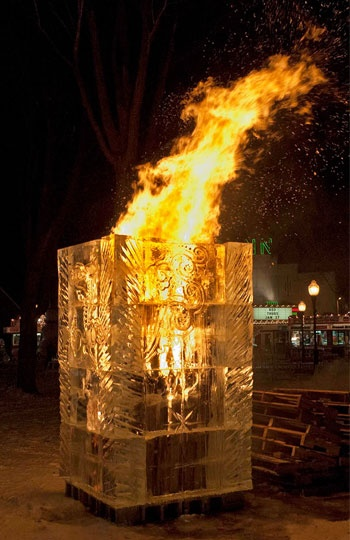Fire & Ice Tower, Plymouth Ice Festival, Mich. (Courtesy of the Plymouth Ice Festival)