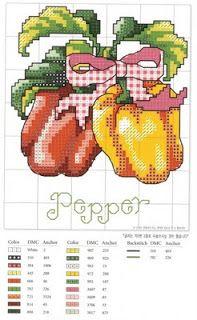 Cross Stitch Vegetables - Pepper, peas, pumpkin, carrots, radishes