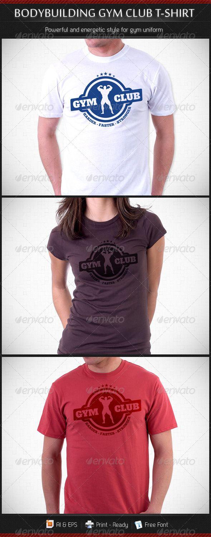 Bodybuilding Gym Club T-Shirt Template - Sports & Teams T-Shirts