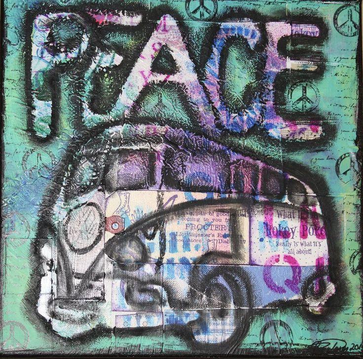 Peace Vw Van turquoise Bo-ho style card