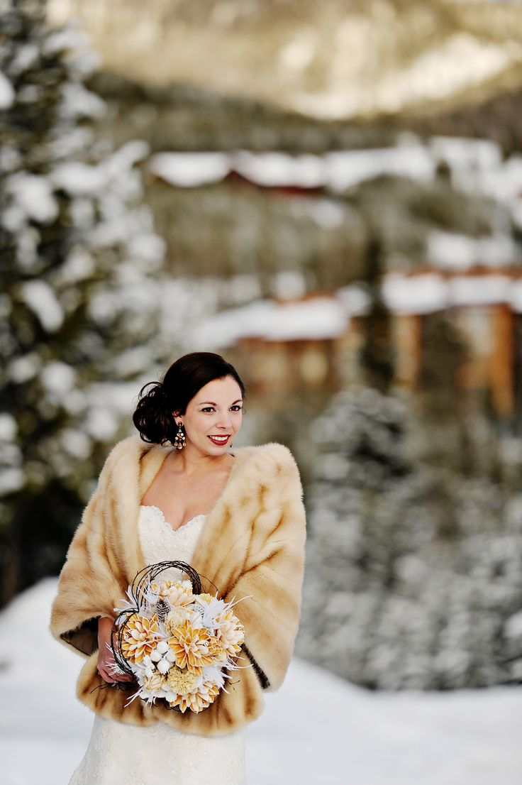 A fur stole for a big sky winter wedding photo by laura for Winter shawls for wedding dresses