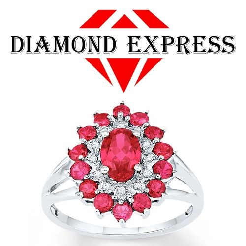 "2.51 Ct Ruby & Diamond Cluster Band Ring 14K Gold July Birthstone ""Mother\'s Day Gift"". Starting at $89"