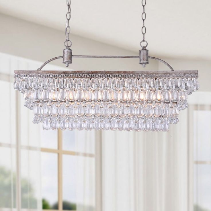 Antique Silver 6-light Rectangular Glass Droplets Chandelier - Overstock™ Shopping - Great Deals on Otis Designs Chandeliers & Pendants