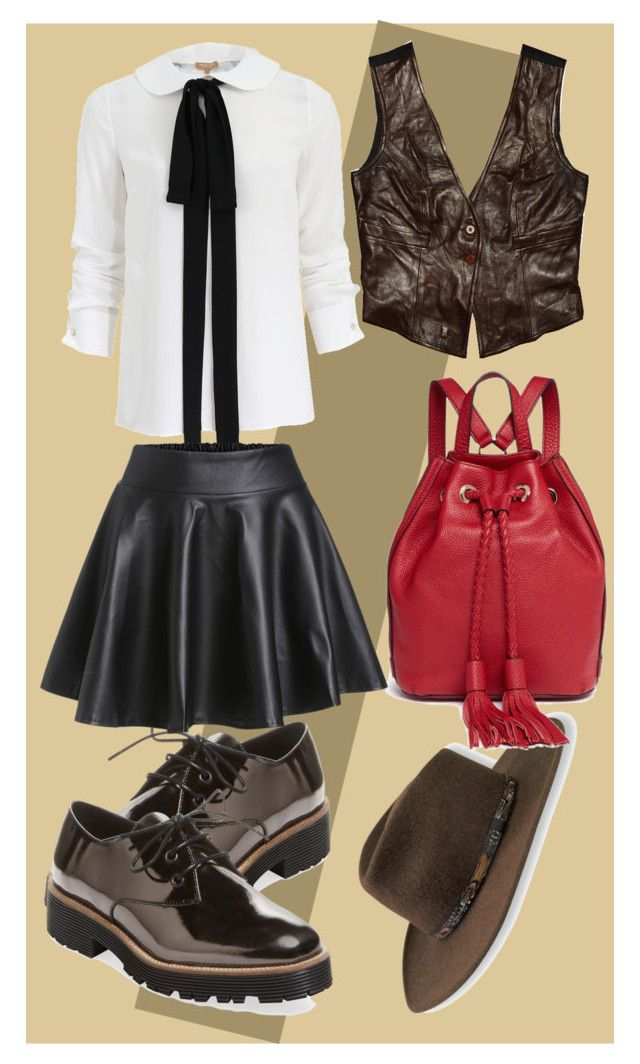 Leather brown by slytheriner on Polyvore featuring Michael Kors, Plein Sud, Renvy, Rebecca Minkoff and Stetson