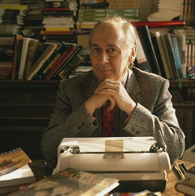 Credit: David Montgomery/Getty Images JG Ballard at work in his Shepperton home in 1989.