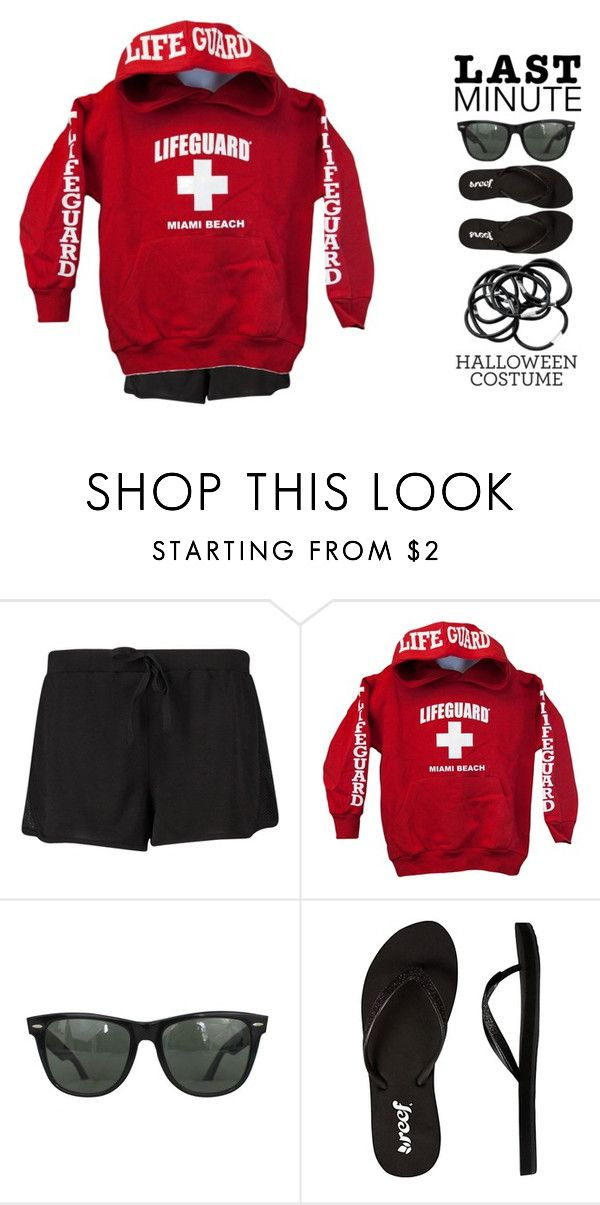 """Last Minute Halloween Costume // Lifeguard"" by maevekaterina ❤ liked on Polyvore featuring Ray-Ban, Reef and H&M"