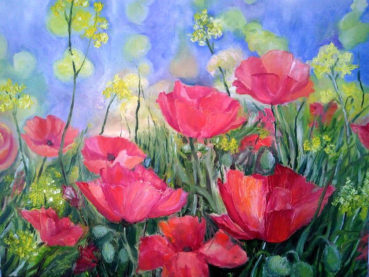 Poppies Landscape Field of poppies Poppies painting Oil poppies Oil red flowers Original oil painting Poppies Wall Decor Field of flowers by PaintingByAHeart on Etsy