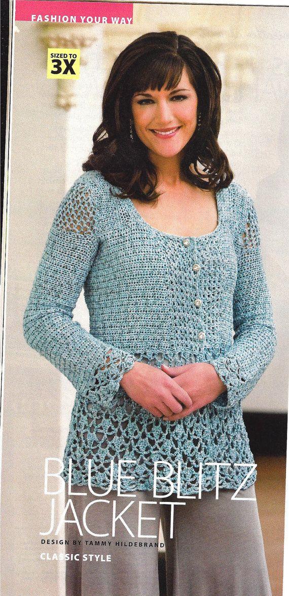 Crochet Pattern Womans Plus Size 3X Lacy Jacket on Etsy, $3.99