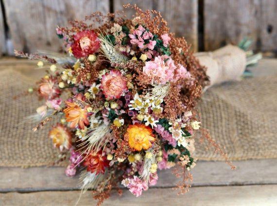 Fall Flower Bouquet Rustic Wedding Bouquet Bridal Bouquet Bridesmaid Bouquet Fall Wedding Bouquet Dry Flower Bouquet In 2020 Dried Flower Bouquet Fall Wedding Bouquets Flower Bouquet Wedding