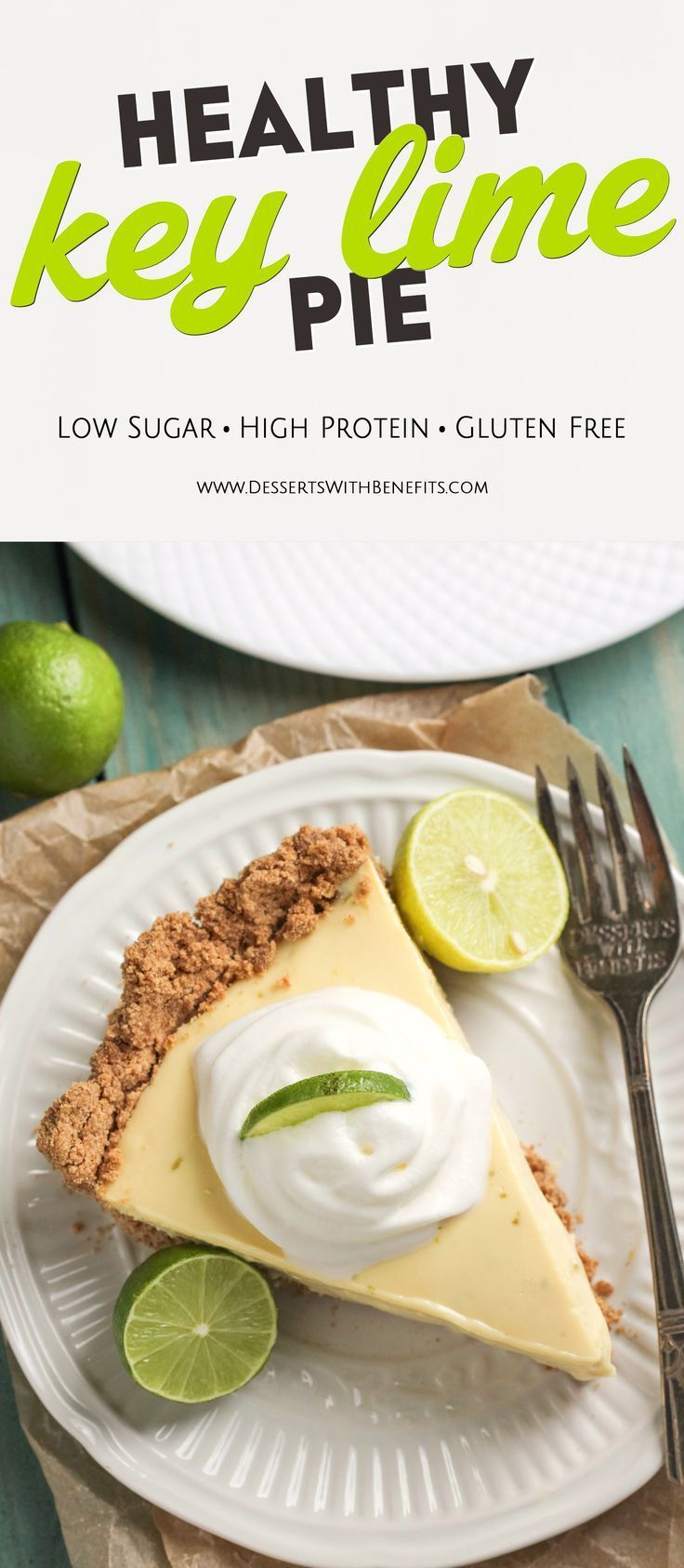 Ever dreamt of a Healthy Key Lime Pie without the healthy taste? Your prayers have been answered! It's got the perfect combination of tart and sweet, rich and creamy, and healthy and delicious! -- Healthy Dessert Recipes with sugar free, low calorie, low fat, high protein, gluten free, dairy free, and vegan options at the Desserts With Benefits Blog