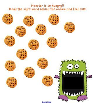 Students feed the hungry monster with cookies by revealing the sight word and reading it correctly. Then they can drag the cookie into the monster's mouth and feed him. Super fun way to review the following sight words: I, a, my, the, to, go, like. Words can be changed as needed.