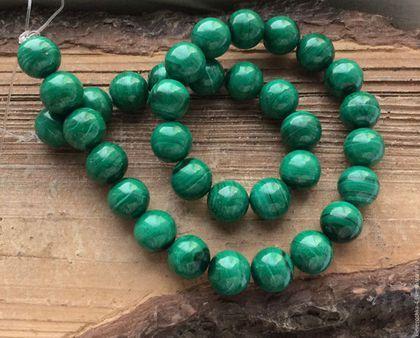 Для украшений ручной работы. Ярмарка Мастеров - ручная работа. Купить Малахит шар 12 мм гладкий бусины имитация камня для украшений. Handmade.