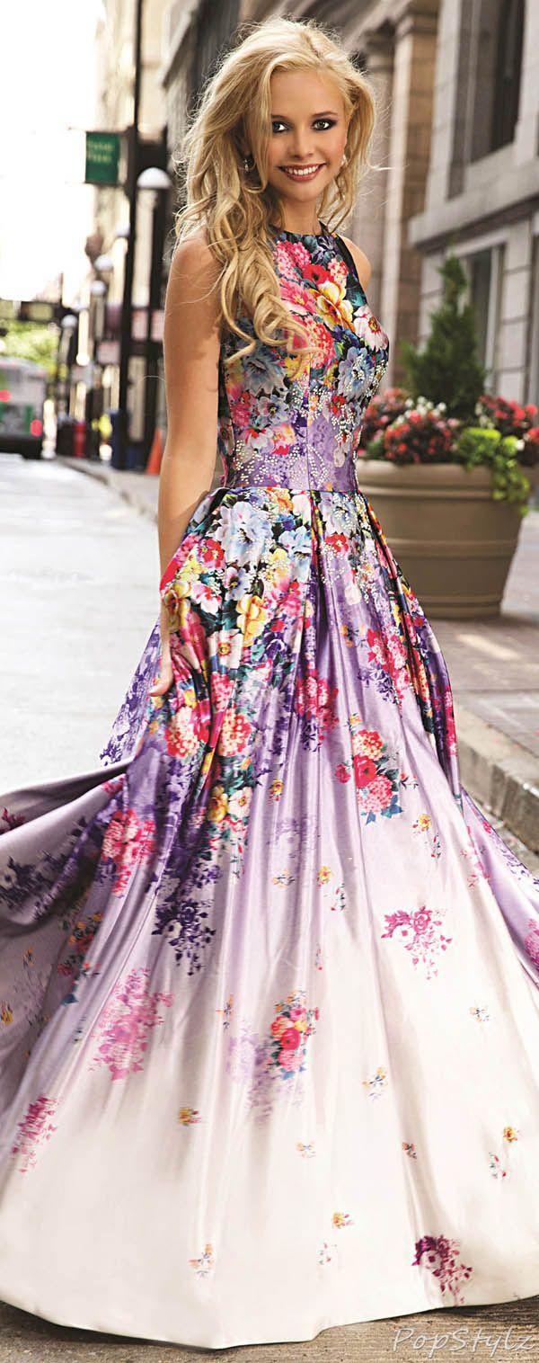Jovani Long Flowing 2015 Floral Print Gown