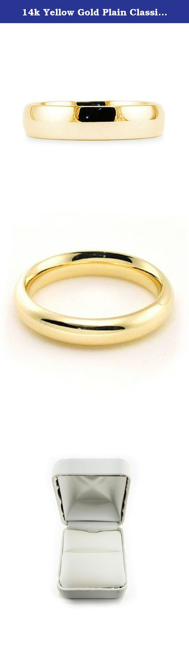 14k Yellow Gold Plain Classic 4mm COMFORT FIT WEDDING BAND size 6.75. This beautiful classic band has a slightly rounded body, bright finish and is comfort fit. The comfort fit design features a rounded polished interior that allows the ring to slide easily and rest comfortably on the finger. Caring For Your Jewelry To keep your jewelry shining and scratch-free, avoid contact with harsh chemicals and chlorine. To clean gold jewelry, use warm water and a mild soap. We do not suggest using…