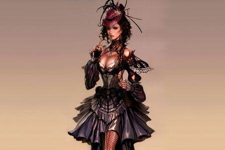 Lady Madame - beautiful, corset, punk, art, pretty, sexy, girl, lady, woman, steam, cgi, madame, painting, steampunk, digital, retro, hot, drawing, victorian, dress