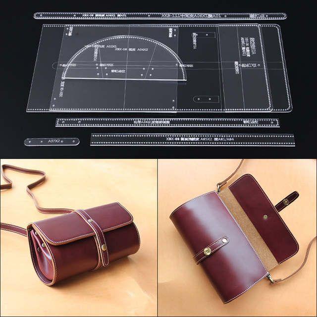 1 takım Tek omuzdan askili çanta eğik çanta akrilik tipi/çizim paket tasarım kağıdı tipi DIY/manuel deri aracı özel şablon