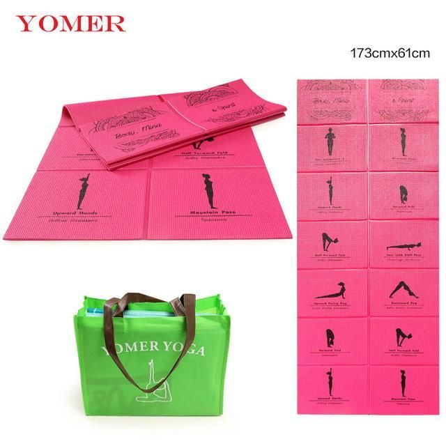 """FOLDABLE YOGA MAT - EASY CARRY   KEY BENEFITS:  Prevents slipping Protects extremities Balance Aid  DETAILS:  Thickness: 5 mm  Material: PVC Length: 68"""" x 24"""" Brand Name: YOMER"""