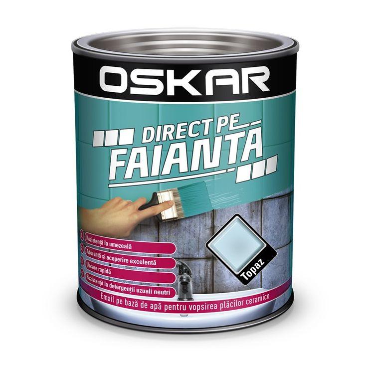 Vopsea Oskar Direct pe Faianta Bleu Topaz pentru decorare rapida si cu costuri mici a faiantei vechi din baie si bucatarie.
