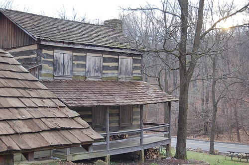 Another view of the Carpenter Log House in William Boyce Park, Morneoville/Plum Pa. House circa 1958 reconstructued on original 1820's foundation.