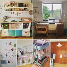 #bpsewvember Day 28: Sewing space. I'm incredibly lucky to have an entire sewing room (with a slopey ceiling!). Key points: cutting desk with fabric storage, shelves for tools and haberdashery, fold out desk (with overlocker inside), inspiration wall, bed for visitors (and spreading out mess), teal trolley for current projects, huge cupboard, table top ironing board and Mr Darcy tote bag :) Not shown: mannequins, teal bin.
