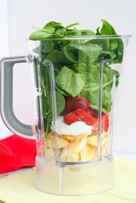 Green Smoothie Recipe: spinach, orange, banana, strawberries, Greek yogurt, ice, and 1 tablespoon of chia or flax seeds (optional)