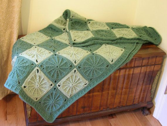 Crochet Afghan Sage Green Granny Square by LittlestSister on Etsy, $275.00