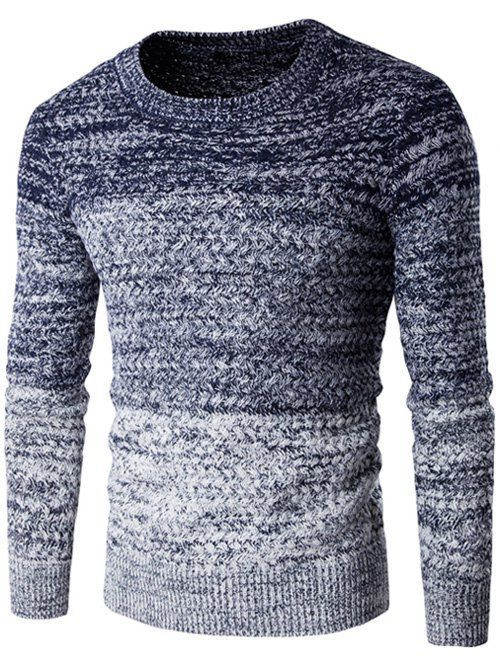 GAMISS for MEN - Round Neck Knit Blends Ombre Long Sleeve Sweater
