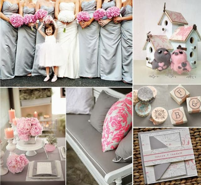 Pink And Grey Wedding Ideas Flowers Stationery Decoration Bridesmaid