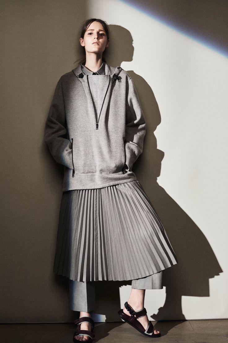 Fresh mashup of layered athletic and uniform codes done in regimental gym grey. At Joseph Resort 2016 #fashion #womenswwear