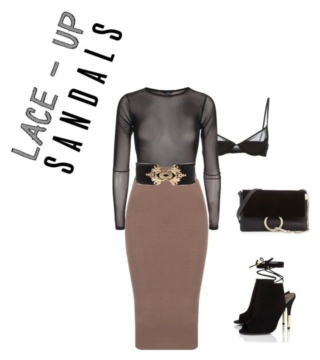 """""""Laced Up! P.4"""" by luluuheree on Polyvore featuring Maison Close, Balmain, Lipsy, Chloé, contestentry, laceupsandals and PVStyleInsiderContest"""