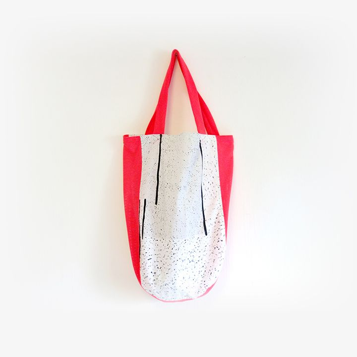 New Tote White / Red  By Aiwei Foo  Exclusively Available On The Loppist