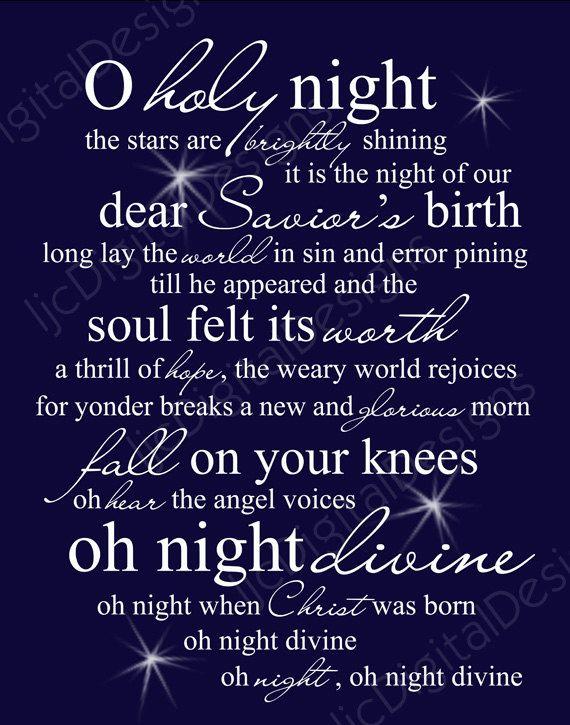 50% OFF SALE O Holy Night Christmas Word Art by ljcDigitalDesigns
