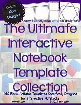 These blank interactive notebook templates are specially designed to work in your interactive notebooks.  These templates also work well in lapbooks.YES YOU CAN! You may use these templates in your own TpT products  credit not required (but always appreciated).**UPDATE** 3/16/14 - I added over 60 new templates to the existing collection of 78 templates.