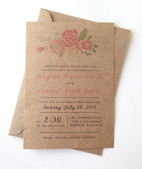 Rustic Floral Wedding Invitations by LemonInvitations on Etsy