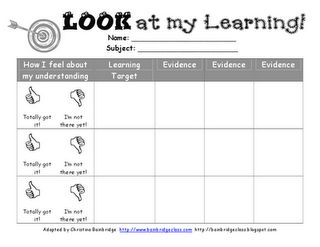 Student learning targets and evidence.. how can I modify this to fit our common board?