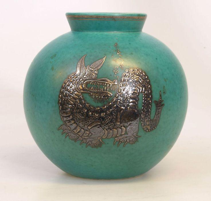 Antique Sweden Old Gustavsberg Argenta Wilhelm Kage vase Dragon 6 Inches #Gustavsberg #WilhelmKage