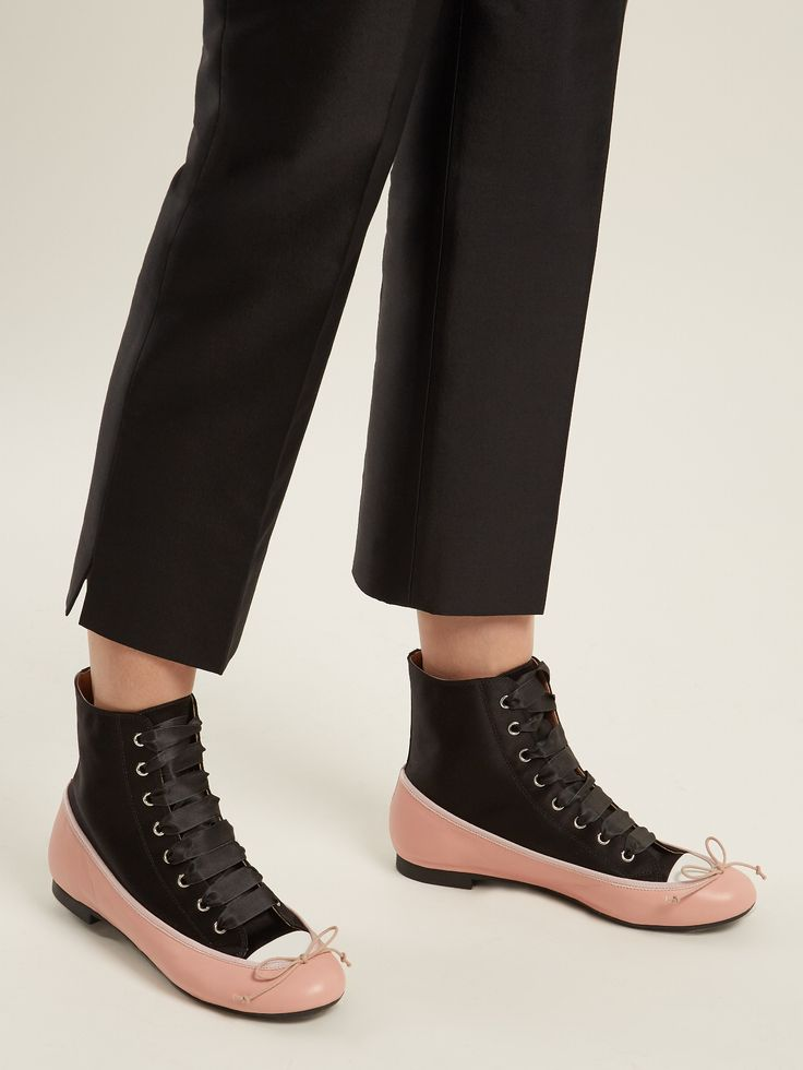 Ballet high-top satin and leather trainers   Marco De Vincenzo   MATCHESFASHION.COM US
