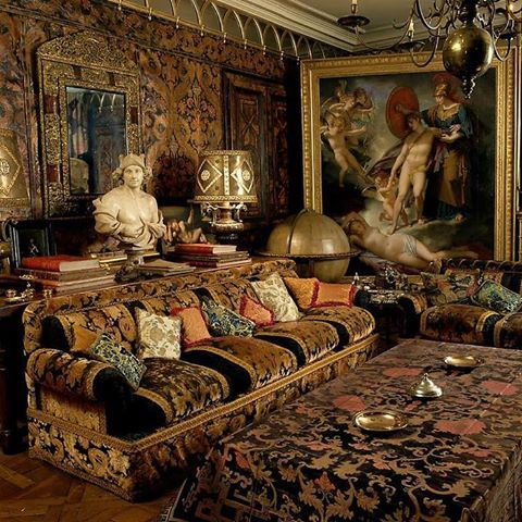 The opulent home of Rudolf Nureyev decorated by Enrico Carcano and photographed by Elizabeth Heyert #maximalis #interiordesign - More wonders at www.francescocatalano.it