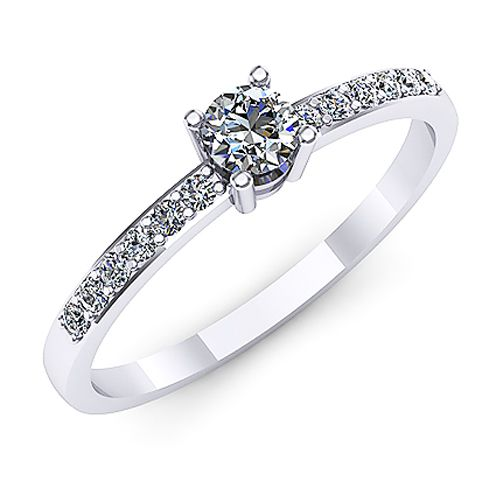 Inel logodna F52ADI INEL REALIZAT DIN AUR ALB 14K CU DIAMANTE  * Piatra principala: diamant ~3.40mm - greutate: 0.15ct * Piatra secundara: diamante 12buc x ~1.30mm - greutate totala: ~0.10ct
