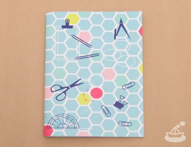 はにかむノート《ステーショナリーブルー》| honeycomb stationary blue notebook