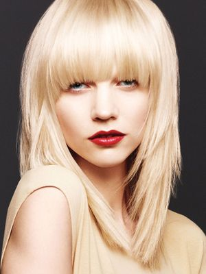 Curved long bangs with layered hair