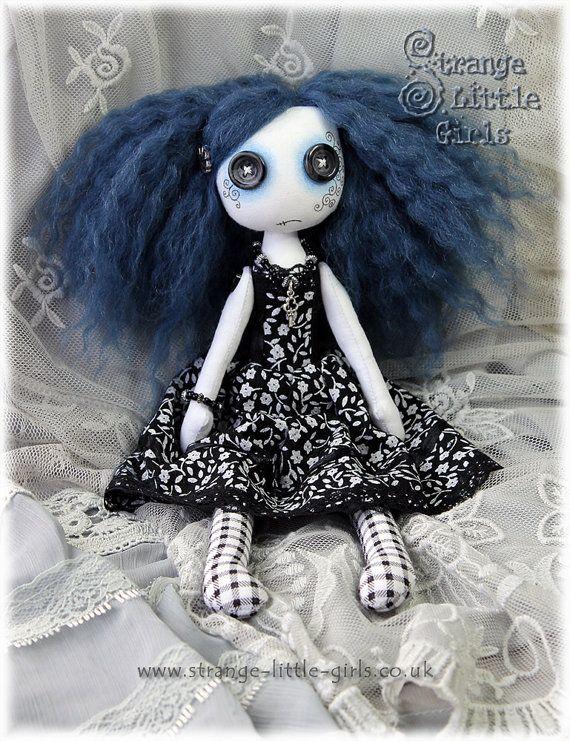 10 Inch Button Eyed Gothic Lolita Cloth Art Doll by StrangeLittleGirlsUK
